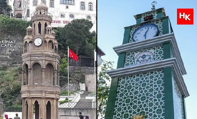 Giresun'da ortodoks mimarisine benziyor diye yıkılan saat kulesinin yenisi yapıldı